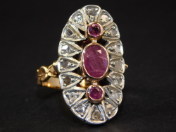 Ring silver and yellow gold 12 Ct 500 ! Ruby 1,20 ct