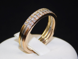 Eternity Ring Multi-Tone Gold 18 Ct 750 ! Diamonds VS-SI G-H 0,36 ct