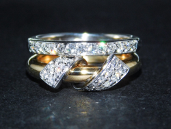Ring Multi-Tone Gold 18 Ct 750 ! Diamonds VVS-VS F-G 0,72 ct