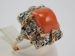 Antique Ring silver and yellow gold 14 Ct 585 ! Coral Mediterranean 5,98 ct