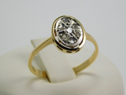 Ring silver and yellow gold 18 Ct 750 ! Gr. 2,20 Rosettes diamonds 0,15 Ct