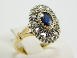 Ring silver and yellow gold 18 Ct 750 ! Rosettes diamonds 0,50 Ct