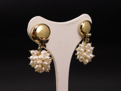 Earrings Yellow Gold 18 Ct 750 ! Gr. 9,10 Pearl fresh water