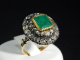 Ring silver and yellow gold 18 Ct 750 ! Emerald 1,80 ct -Rosettes diamonds